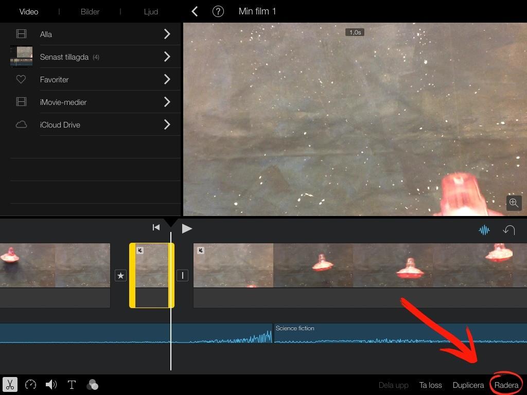 Rymden iMovie radera Trampolin